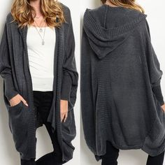 """XX - AUSTIN cocoon cardigan - CHARCOAL This cocoon style cardigan features long batwing sleeves and an open front. ONE SIZE  Description: L 36"""" B: 78"""" W: 72"""" Fabric 70% ACRYLIC 30% POLY Sweaters Cardigans"""