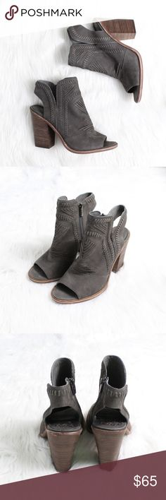 """VINCE CAMUTO Karinta Block Heel Bootie in Grey Brand new without box!  Size: 8.5 (True to size) Color: Grey  Intricately patterned whipstitching lends Western-inspired style to a versatile peep-toe bootie elevated by a tapered stacked heel.  4"""" heel. Side zip closure. Leather upper/synthetic lining and sole. Imported. Vince Camuto Shoes"""