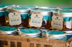 adorable wedding favors...jars of honey (Meant to bee) :)