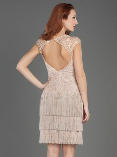 Short Evening Dress with Fringes and Lace  http://www.mikael.gr/en/new-collection/20340.html