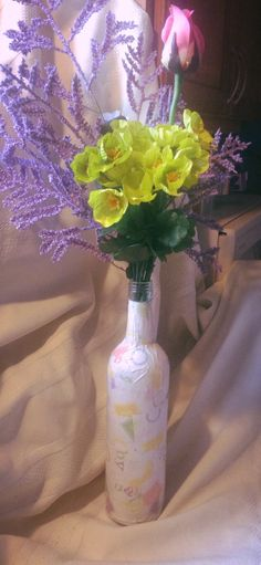 Wine Bottle Vase With Red White Blue And By Heartsdesiresoaps 700