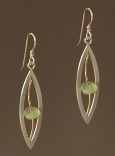 Mar Jewelry - Brushed Sterling Silver and Sea Glass Earrings