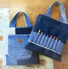 Picture only. Upcycled denim jeans into crayon art tote. Jean Crafts, Denim Crafts, Jeans Recycling, Denim Purse, Denim Ideas, Patchwork Jeans, Recycled Denim, Handmade Bags, Sewing
