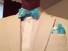 "How to wear Lilly Shorely Blue ""She's A Fox"" bow tie and pocket square. From CCADesign.etsy.com"