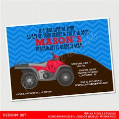 4 Wheeler Birthday Invitation or Thank You by PinkPickleParties, $10.00