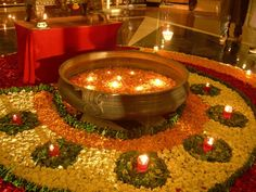 Earthen pot , Diyas and flowers rangoli