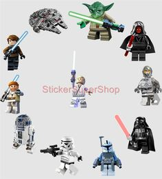 Lego Star Wars 11 Characters Decal Removable Wall Sticker Home Decor Art R2D2 | eBay I like these.