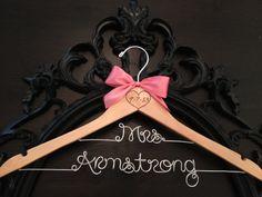 Brides Hanger / LONG LAST NAME Bridal Hanger / Wedding Hanger / Personalized Custom Hanger / Wire Name Hanger on Etsy, $34.00