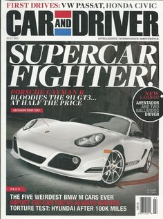 Car and Driver magazine Porsche Lamborghini Aventador Honda Civic BMW Hyundai