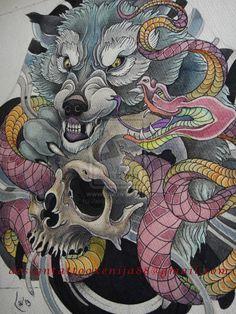 Tattoo design - Wolf, snake, skull by Xenija88.deviantart.com on @deviantART