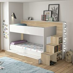 Letto a castello Teo Tea in bianco ed essenza rovere sonoma Bed For Girls Room, Small Room Bedroom, Baby Bedroom, Girls Bedroom, Kids Bedroom Designs, Bunk Bed Designs, Kids Room Design, Custom Bunk Beds, Bedroom Closet Storage