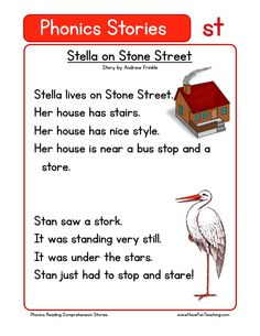 Using this Stella on Stone Street ST Phonics Reading Comprehension Worksheet, students build their reading comprehension and phonics skills while reading words featuring ST. Phonics Reading, Reading Comprehension Worksheets, Teaching Phonics, Kindergarten Reading, Teaching Reading, English Kindergarten, Picture Comprehension, Reading Words, Reading Passages