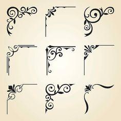Vector illustration of decorative corner frame set. - Vector illustration of decorative corner frame set. Frame Border Design, Boarder Designs, Page Borders Design, Stencil Designs, Free Vector Graphics, Free Vector Art, Graphics Vintage, Vector Vector, Vector Design