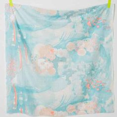"""Nani Iro Komorebi in """"Springs"""" abstract floral in turquoise on off-white, cotton double gauze fabric - Red Beauty Textiles"""
