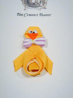 Baby Chick Ribbon Sculpture Hair Clip by maryellenaliperti on Etsy, $5.00
