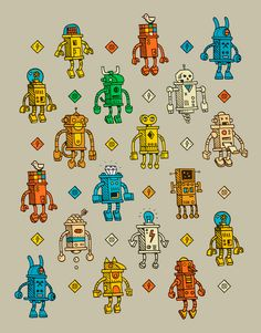 small robots / packing paper by Valle, Montreal, Quebec, Canada   Drawing,  Illustration   Pattern Design  
