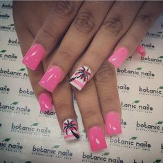 Pink nails with pink and white stripes with Palm tree design