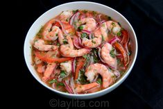 Shrimp ceviche or ceviche de camaron... One of my Favorites.... Last time I cooked it, it took me a long time... so i need to try this recipe!
