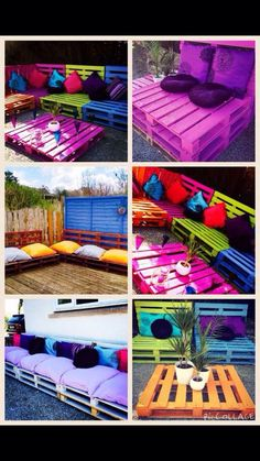 Pallet projects - 150 easy ways to build pallet projects. Homemade Outdoor Furniture, Pallet Garden Furniture, Funky Furniture, Handmade Furniture, Refurbished Furniture, Outdoor Pallet Seating, Outdoor Pallet Projects, Pallet Ideas Easy, Diy Home Decor Bedroom