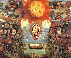"""conalgodeestilo:  No soy un apasionado de Frida Kahlo, pero he visto este cuadro en un documental sobre la muestra de Roma y al leer ahora una descripción detallada sobre el mismo…Ummm… ¡¡Bravo Frida!!: De la web: fridakahlofans.com  Moisés 1945  Este cuadro a veces es referido como """"El núcleo de la creación"""". En una descripción escrita de esta pintura, Frida se refiere a ella como """"Moisés"""", o """"Nacimiento del Héroe"""". Esta obra maestra fue encargada por Don José Domingo Lavin. Kahlo había…"""