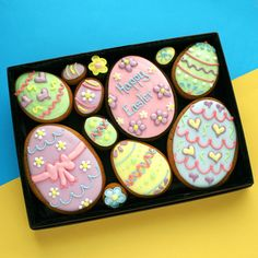 Our easter range of cookie gifts make a delightful and delicious medium easter egg cookie gift box negle Images