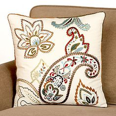 I want this for my living room. It would match my couches perfectly! Motif Paisley, Paisley Design, Paisley Pattern, Paisley Print, Throw Cushions, Toss Pillows, Couch Pillows, Cross Stitch Pillow, Fluffy Pillows