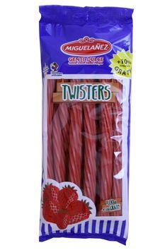 Los nuevos Twister se presentan en una bolsa de 500 gr.; sin huevo y sin leche, sin colorantes artificiales y con zumo concentrado de frutas.