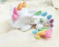 Pastel Rainbow Dragon // Tiny Dragon Sculpture // Polymer Clay Cute Fantasy Figurine // MADE TO ORDER