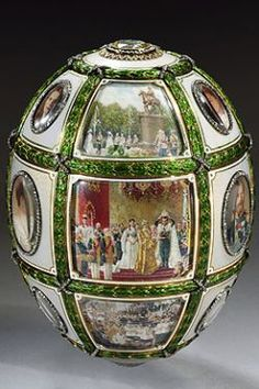 Fifteenth Anniversary of the Reign Egg  1911   Faberge atelier, Henry Wigstrom  St Petersburg   Gold, diamonds, enamel