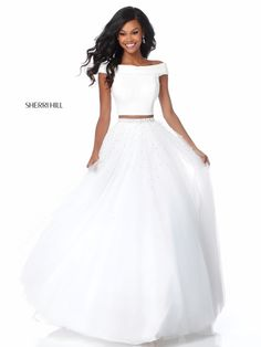 Sherri Hill 51907 Ivory Two Piece Beaded Prom Dress Gorgeous Wedding Dress, Dream Wedding Dresses, Prom Dresses 2018, Formal Dresses, Pretty Dresses, Beautiful Dresses, Off Shoulder Fashion, Beaded Prom Dress, Chiffon Gown