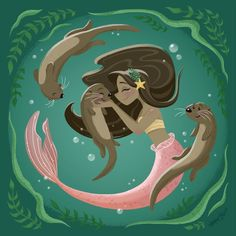 This is my actual dream. Be a mermaid and play with otters. Siren Mermaid, Mermaid Lagoon, Black Mermaid, Mermaid Tails, Mermaid Art, The Little Mermaid, Fantasy Mermaids, Mermaids And Mermen, Real Mermaids