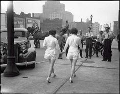 """Women wearing shorts in public for the first time cause car accident."" 1937, Toronto"