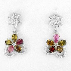 Beautiful Petite Fancy Colored Tourmaline Gemstone Earrings