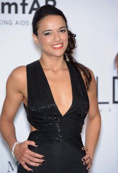 Actress Michele Rodriguez wore a white diamond Links collection bracelet by Avakian.