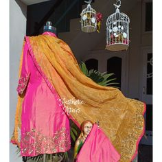 Double shade Silk based tilla embroidered suit paired with mango yellow chinnon odhni which is beaut Embroidery Suits Punjabi, Embroidery Suits Design, Indian Embroidery, Punjabi Salwar Suits, Punjabi Dress, Sharara Suit, Designer Punjabi Suits, Indian Designer Wear, Bridal Mehndi Dresses