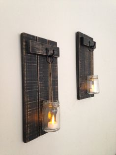 This purchase for a SET OF 2 includes, 2 wooden wall sconces, 2 Mason jars, and 2 battery operated candles. Each sconce is approximately 7 inches wide,