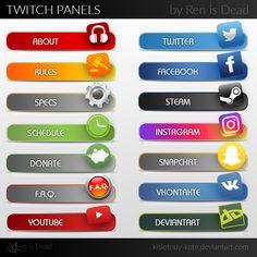 Twitch Panels [updated 25.05.2016] by Kislotnuy-Kote.deviantart.com on @DeviantArt Instagram Schedule, Tv Panel, About Twitter, Got Game, Twitch Tv, Overlays, Background Ideas, Deviantart, Youtube