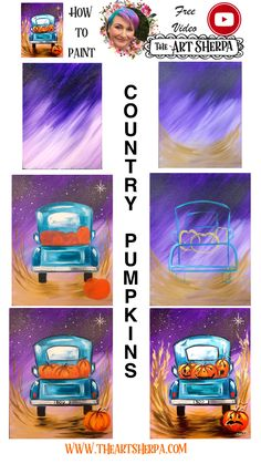 Vintage Truck And Jack O Lantern Easy Acrylic Painting Step By Step Days Of . - Ideas for teachers and students - Vintage Truck And Jack O Lantern Easy Acrylic Painting Step By Step Days Of Halloween Fall Canvas Painting, Cute Canvas Paintings, Canvas Painting Tutorials, Acrylic Painting For Beginners, Simple Acrylic Paintings, Autumn Painting, Step By Step Painting, Autumn Art, Painting Lessons