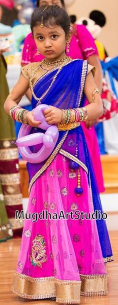 Small Baby in Pink Half Saree - Indian Dresses Indian Baby Girl, Kids Indian Wear, Cute Little Girl Dresses, Cute Little Girls, Baby Dresses, Indian Frocks, Indian Dresses, Kids Lehenga Choli, Kids Saree