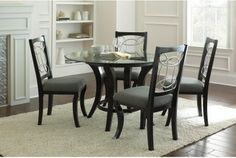 Steve Silver Cayman Side Chairs - Black - Set of 2 - modern - dining chairs and benches - Hayneedle