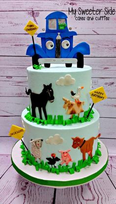 """""""Little Blue Truck"""" cake. Decorations are based on images from the book. Buttercream cake with fondant decorations. Truck Birthday Cakes, Truck Cakes, Farm Birthday, 3rd Birthday Parties, Happy Birthday, Second Birthday Ideas, Little Blue Trucks, Fondant Decorations, Baby Shower Cakes"""