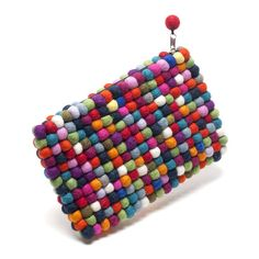 handmade felt balls clutch bag multicoloured by felt so good   notonthehighstreet.com