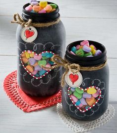 DIY Valentine Gift Ideas and Crafts for Valentines Day - Heart Jars with Chalkboard Paint