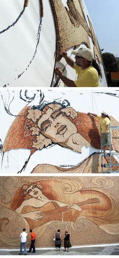 Albanian artist Saimir Strati.Amazing street art from recycled wine corks.