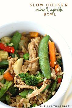 Slow Cooker Teriyaki Chicken and Vegetable Bowl on MyRecipeMagic.com
