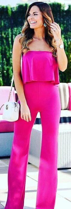 #spring #outfits woman wearing pink strapless top and pants. Pic by @tridence_david