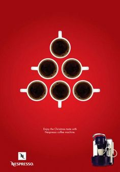 Love the Christmas ad for Nespresso! Although a few people done adverts like that this year, not very original? Creative Advertising, Ads Creative, Print Advertising, Advertising Campaign, Print Ads, Advertising Ideas, Street Marketing, Guerilla Marketing, Cool Christmas Trees