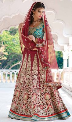Make a stand-out statement with this maroon color embroidered georgette lehenga choli. The lace, resham and stones work seems to be chic and aspiration for any celebration. #designerbridalcholis #ghagaracholiecollection #weddinglehengacholi