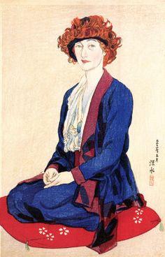 Portrait of Miss Elizabeth Keith by Ito Shinsui, 1922 (published by Watanabe Shozaburo). Elizabeth Keith was a self-taught artist born in Scotland, Japanese Prints, Japanese Art, Japanese Style, Miss Elizabeth, Art Occidental, Japanese Painting, Print Artist, Woodblock Print, Traditional Art
