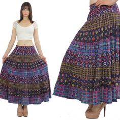 Vintage Boho maxi skirt Ethnic Tribal skirt Hippie skirt Tiered skirt Festival dress skirt Boho skirt Geometric skirt  cotton skirt M